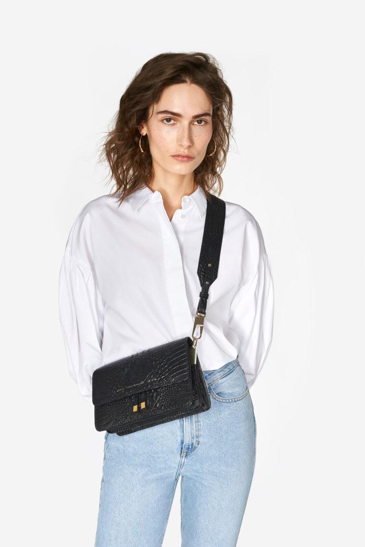 """Shoulder Bag """"black crocodile"""""""