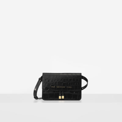 "Mini Belt Bag ""glossy black crocodile"""