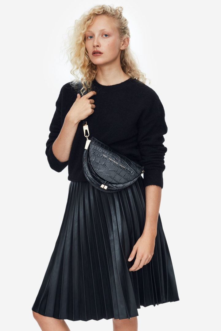 "Saddle Bag ""glossy black crocodile"""