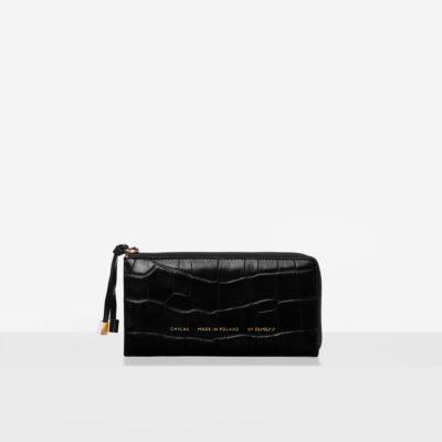 "Wallet ""glossy black crocodile"""