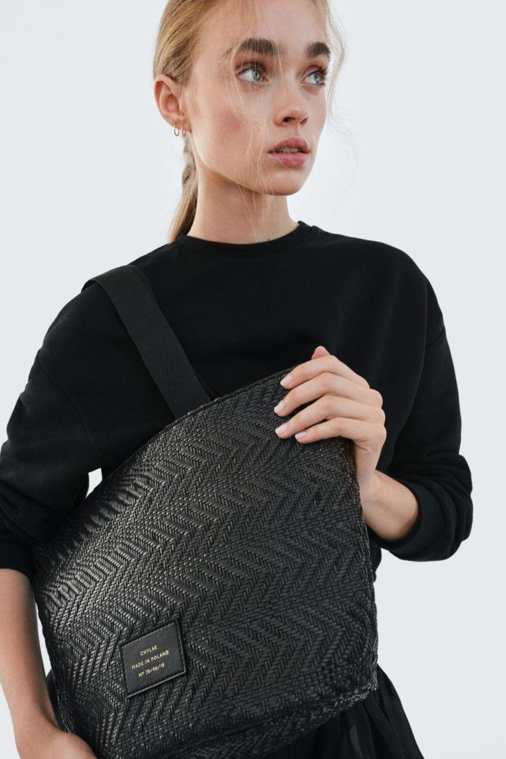 """Small Tote Bag """"black woven"""""""