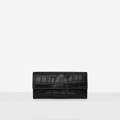 "Flap Wallet ""glossy black crocodile"""