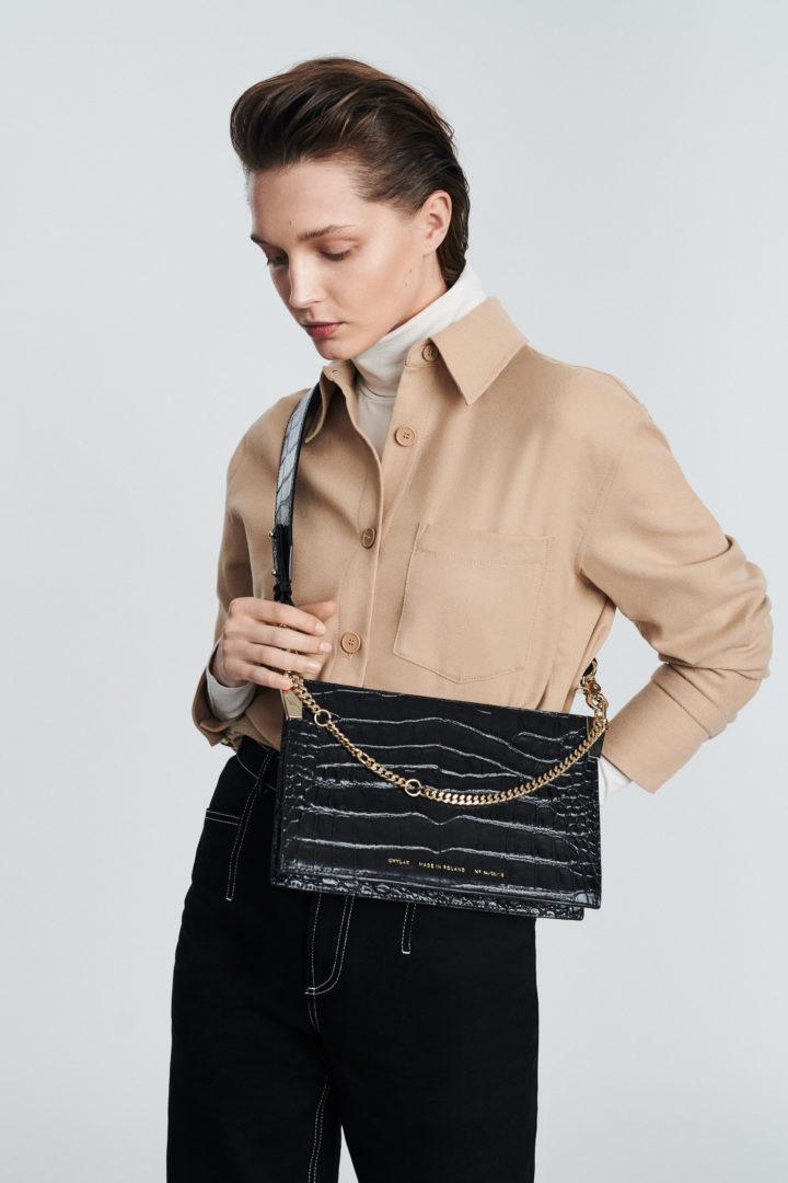 """Chain Bag """"glossy black crocodile"""""""