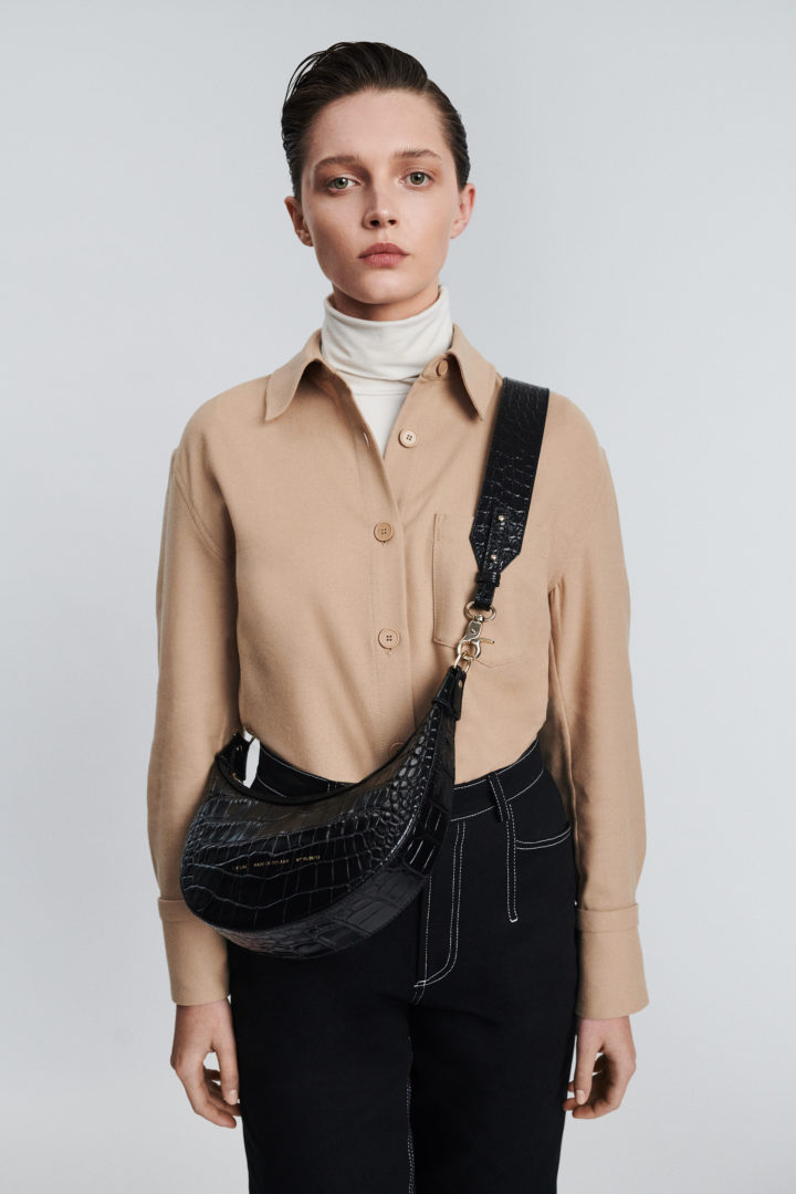 "Croissant Bag ""glossy black crocodile"""