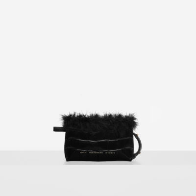 "Feathered Mini Belt Bag ""glossy black crocodile"""