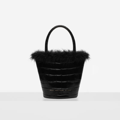 "Feathered Small Bucket Bag ""glossy black crocodile"""