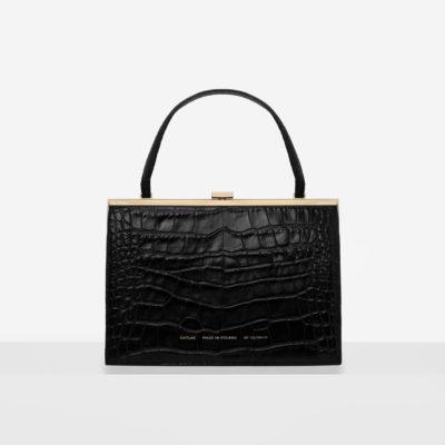 """Vintage"" Clasp Bag ""glossy black crocodile"""