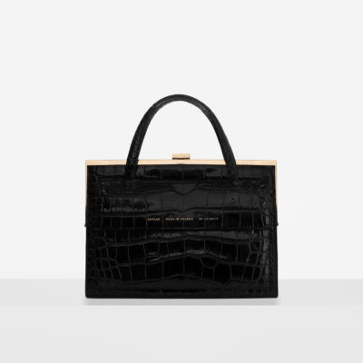 """Vintage"" Clasp Bag ""glossy black crocodile"" with Pocket"