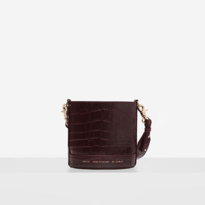 "Mini Cylinder Bag ""glossy burgundy crocodile"""