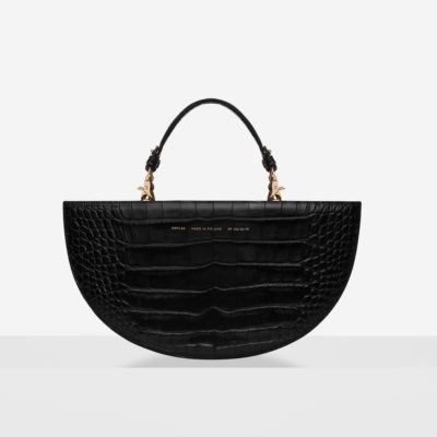 "Half Moon Bag ""glossy black crocodile"""