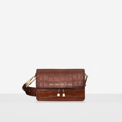 "Shoulder Bag ""glossy caramel crocodile"""