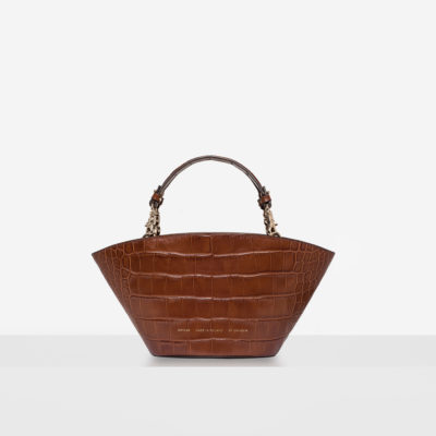 "Small Basket Bag ""glossy caramel crocodile"""