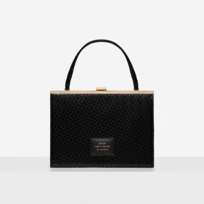 """Vintage"" Clasp Bag ""black woven leather"""
