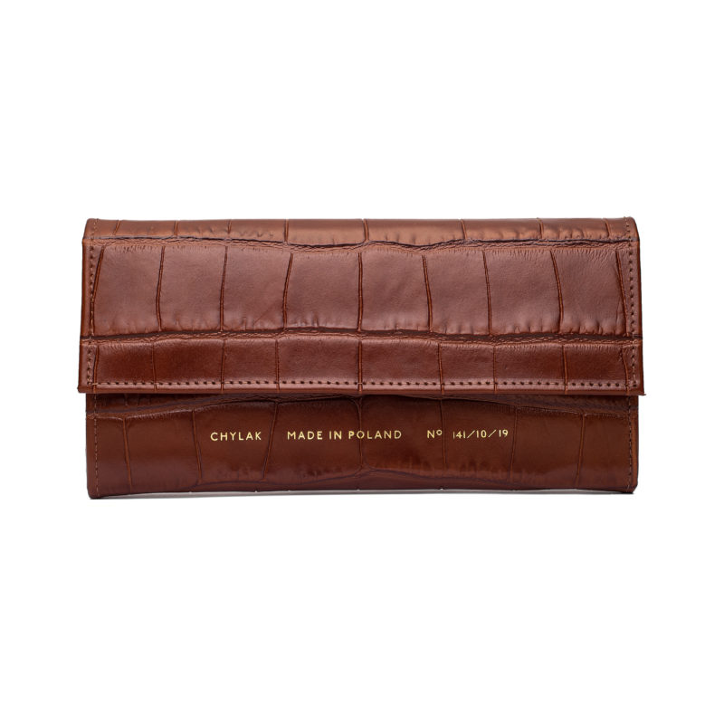 "Flap Wallet ""glossy caramel crocodile"""