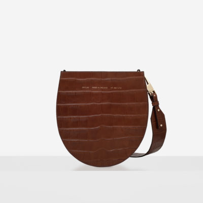 "Horseshoe Bag ""glossy caramel crocodile"""