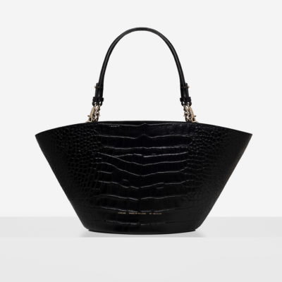 "Maxi Basket Bag ""glossy black crocodile"""