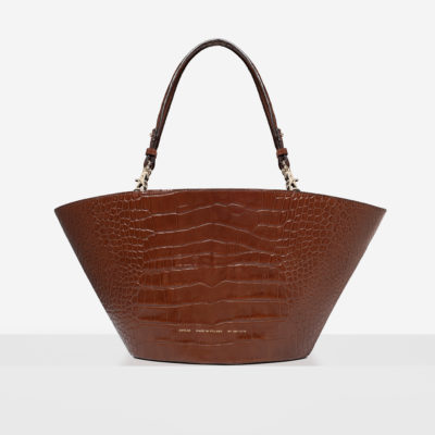 "Maxi Basket Bag ""glossy caramel crocodile"""