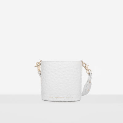 "Mini Cylinder Bag ""white ostrich"""