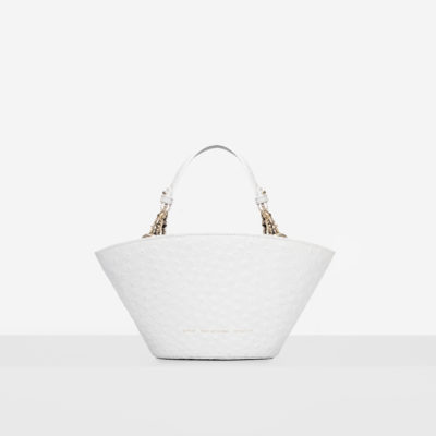 "Small Basket Bag ""white ostrich"""
