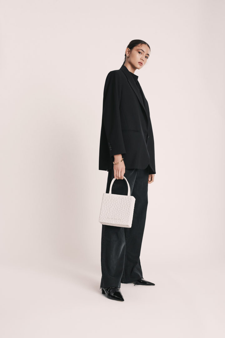 "Square Bag ""white ostrich"""