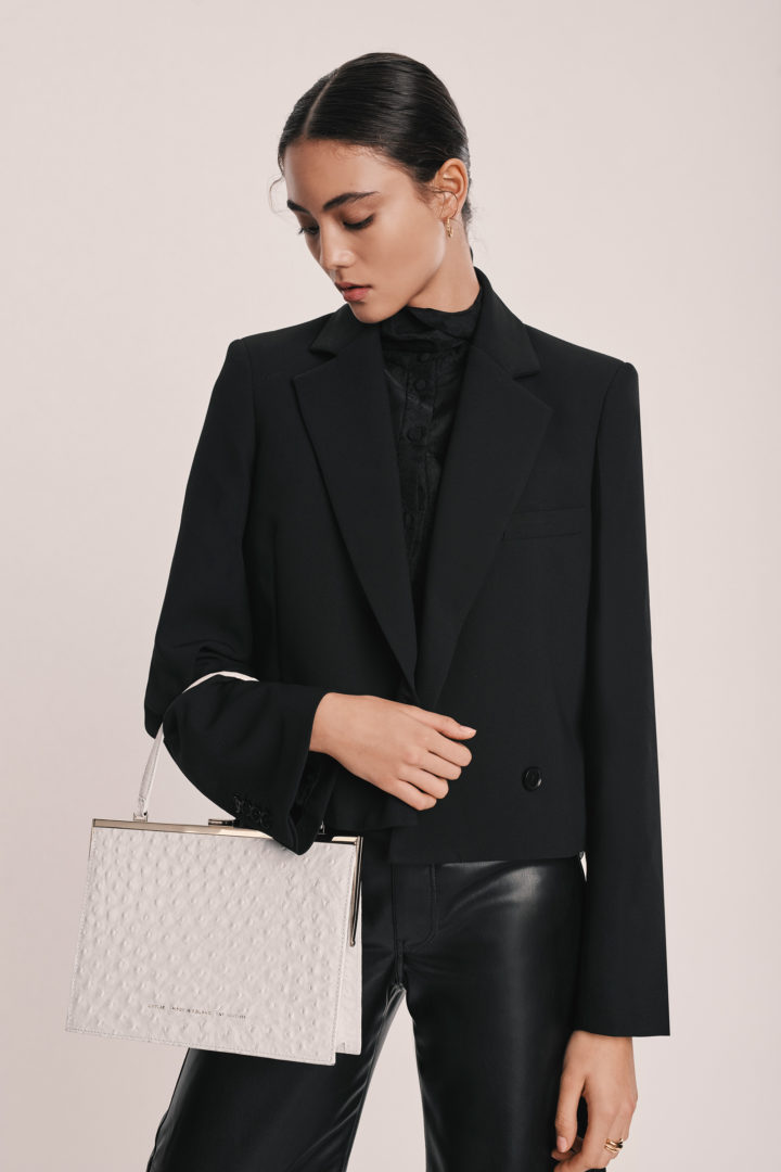 """Vintage"" Clasp Bag ""white ostrich"""