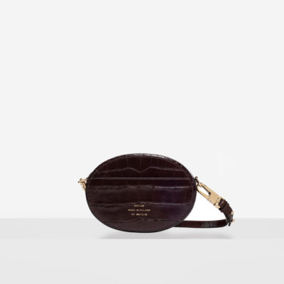 "Ellipse Shoulder Bag ""glossy brown crocodile"""