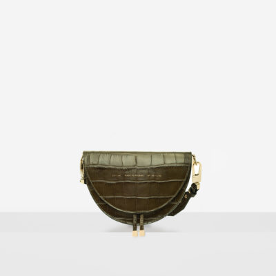 "Saddle Bag ""olive crocodile"""