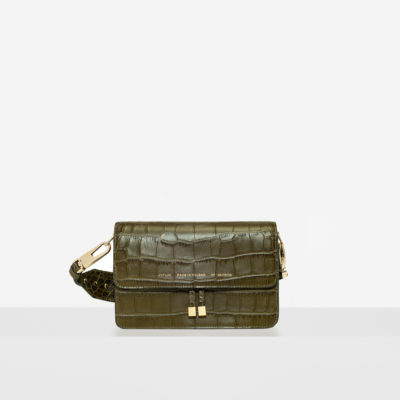 "Shoulder Bag ""olive crocodile"""
