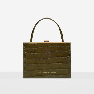 """Vintage"" Clasp Bag ""olive crocodile"""