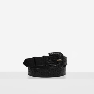 "Leather Buckle Belt ""glossy black crocodile"""