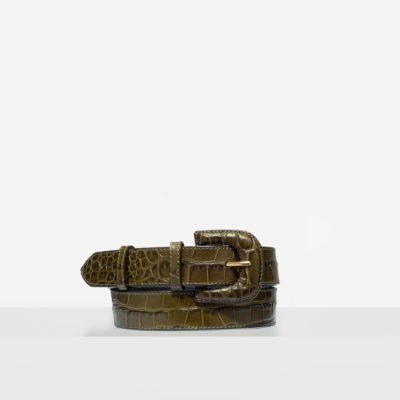 "Leather Buckle Belt ""olive crocodile"""