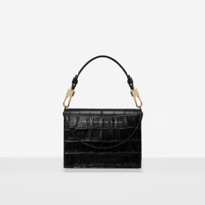 "Retro Bag ""glossy black crocodile"""