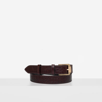 "Retro Belt ""glossy brown crocodile"""