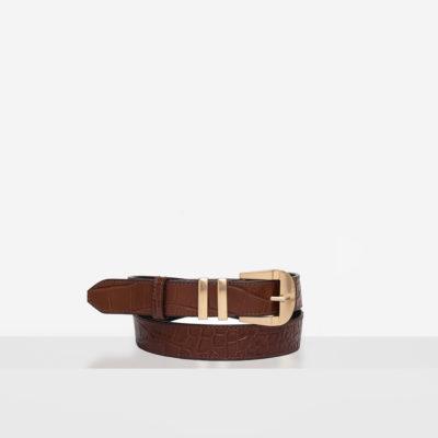 """Vintage"" Belt ""glossy caramel crocodile"""