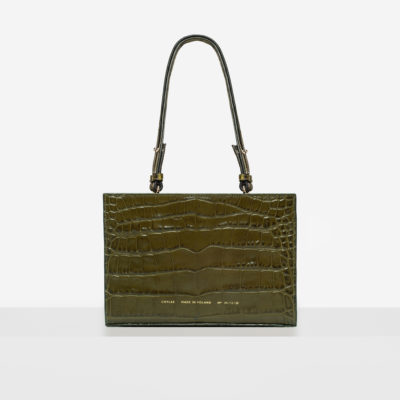 "Mini Tote Bag ""olive crocodile"""