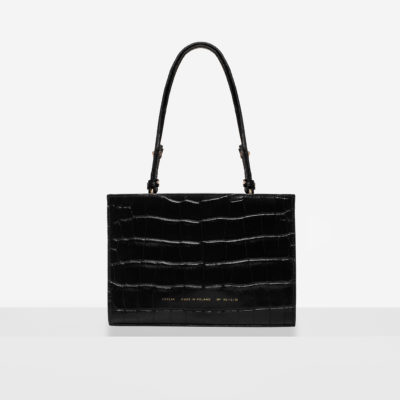 "Mini Tote Bag ""glossy black crocodile"""